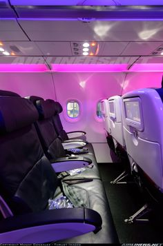 Virgin America Airbus My fave mode of transport when jetting off to far away lands. Best Airlines To Fly, Trains, Airplane Interior, International Civil Aviation Organization, Virgin America, Aircraft Interiors, Virgin Atlantic, Southwest Airlines, Aviation Industry