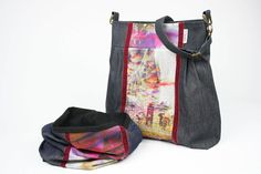 READY TO SHIP set - Big Tote bag and scarf - messenger bag - loop tube scarf - infinity - dark blue denim and malve by BagitBag on Etsy
