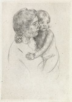 MARY CASSATT  Denise Holding Her Child.   Drypoint on cream laid paper, circa 1905. 208x150 mm; 8 1/4x5 7/8 inches, wide margins. Second state (of 2).