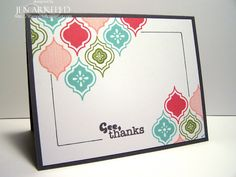 Clean and simple one layer card!  Using Stampin' Up!'s new Mosaic Madness stamp set and some fun new colors!  Jen Arkfeld - Stamped Silly - Stampin' Up! Demo