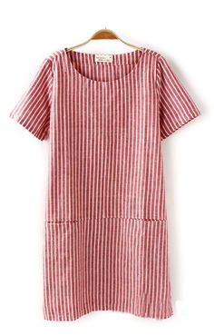 Two Patch Pockets Vertical Stripes Short Sleeves Dress