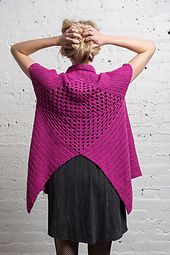 A traditional granny-square motif gets upended in this seamless cap-shouldered vest with drape to spare. A bit Rubik-y in the making, this snappy sweater is tons of fun to wear.