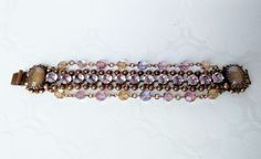 Kirks Folly Bead Bracelet with Gold Stones Vintage Very Rare #KirksFolly