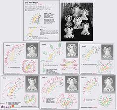 Alice's Enchanted World: Crochet ANGELS for Christmas tree Crochet Angel Pattern, Crochet Angels, Crochet Diagram, Crochet Chart, Thread Crochet, Filet Crochet, Crochet Doilies, Crochet Christmas Decorations, Crochet Ornaments