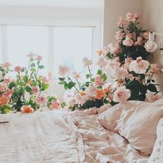 Waking up in a bed of flowers via @designlovefest