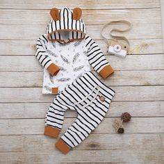 Baby Boys Ear Decor Leaf Print Hoodies and Striped Pants Set Baby Boys Ear Decor Leaf Print Hoodies and Striped Pants Set – TYChome Baby Outfits Newborn, Baby Boy Newborn, Newborn Clothing, Boy Clothing, Baby Girls, Kids Outfits Girls, Girl Outfits, Cute Baby Boy Outfits, Pantalon Long