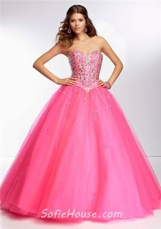 Ball Gown Sweetheart Corset Back Deep Purple Satin Tulle Beaded Prom Dress