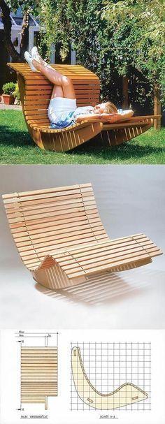 Summer Waves Wooden Chaise Recliner