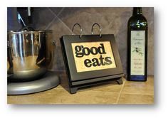 Easy to make counter top recipe flip-book. Looks cute next to a few bottles of olive oil...or wine!