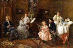 Large Family Portrait In The Salon by Franz Bohumil Doubek (1865 – 1945, Czech)