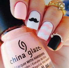 I don't know about the mustache but I love everything else about these nails #SummerNails