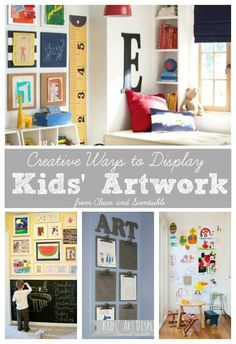 Lots of great ideas on how to display your child's artwork and organize all of those masterpieces!