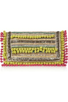 MW can do no wrong in my eyes. The layout of the clutch is so much fun, and the mixed materials make it super-Anatsui. | MATTHEW WILLIAMSON Pom Pom embellished suede clutch