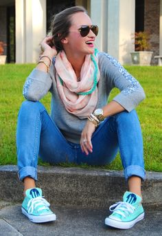 Turquoise monogramed chuck taylors. @9thandelm.com From Morrell's Armoire Fashion Blog