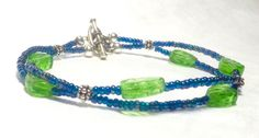 Seed Bead and Czech Leaf Bead Double Strand by EclecticDesigns