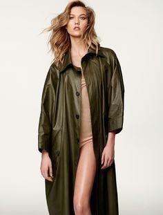 Wearing neutral styles, Karlie Kloss models Adam Lippes coat and Jil Stuart bodysuit for ELLE Brazil Magazine March 2016 issue