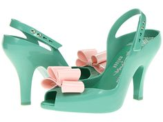 Melissa Lady mint and pink bow shoes on sale for $114. Love when brides have these on.