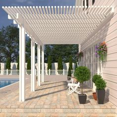 White Pergola with Canopy . White Pergola with Canopy . Beautiful White Pergola with Columns and Watertight Front Porch Pergola, White Pergola, Corner Pergola, Modern Pergola, Outdoor Pergola, Backyard Pergola, Patio Roof, Pergola Plans, Pergola Ideas