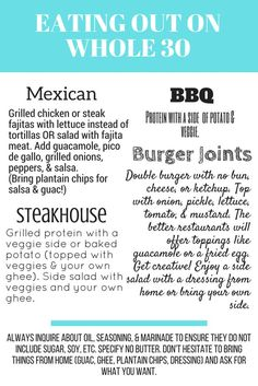 Eating Out on Whole 30 Quick Tips Enjoy this easy graphic to help plan what to order at restaurants while on your Whole 30 Whole 30 Meal Plan, Whole 30 Diet, Paleo Whole 30, Paleo Recipes, Whole Food Recipes, Whole 30 Easy Recipes, Paleo Meals, Snacks Recipes, Crockpot Meals