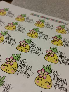 Free Printables HAPPY Aloha Friday Pineapple stickers perfect for any planner. Mambi Happy Planner || ERIN condren || Recollections Planners || made in Hawaii with a lot of Aloha.