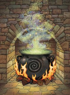 """John Kachik Illustration: The Witch's Cauldron. John Kachik shares his latest cover illustration for the ongoing series of Little Witch's books. This one is titled, """"The Witch's Cauldron. Fire Drawing, Witch Drawing, Kawaii Illustration, House Illustration, Witch Potion, Real Witches, Magic Crafts, Haunted Dollhouse, Witches Cauldron"""