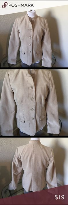 Dressbarn size small suede jacket Size small tan suede Dressbarn jacket with dark brown trim. Cute as a jacket with jeans or as a blazer with dress pants. In good used condition. Shoulder to bottom of hem 23 1/2. Underarm to underarm 19 Dress Barn Jackets & Coats Blazers