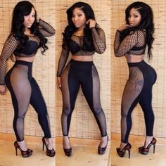 USD9.99Cheap Sexy Mesh Hollow-out Patchwork Solid Black Skinny Jumpsuit......N0!!!! just no.....
