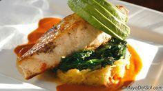 pescado del dia - pan roasted mahi mahi · spaghetti squash · spinach · avocado · aji panca sauce
