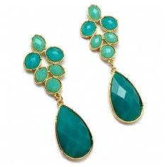Jenell's Chunky Turquoise Fashion Teardrop Earrings ($39) ❤ liked on Polyvore