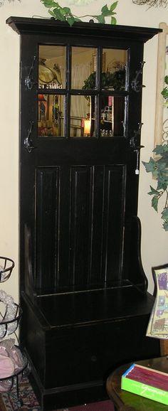 Antique Victorian Hall Tree Original Mirror Umbrella Stand