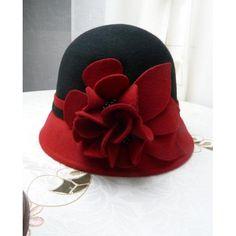 Women Black Red Wool Winter Warm Dress Church Bucket Fashion Hat Shop SKU-158150