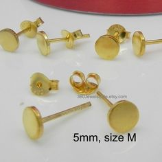Polished Goldenrod Stud Earrings Men S Gold Fake Gauge Studs Plug 5mm Nail It Down 420 5sy