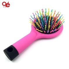 rainbow volume hair brush magic hairbrush massage anti-static brush for hair tangle brush comb with mirror