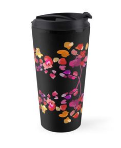 Fiery Petals Pattern Travel Mug. Sophisticated floral pattern in vivid colors on the black background. Stylized petals in fiery red, bright orange and radiant purple colors form elegant yet striking ornament. Beautiful artsy feminine print.