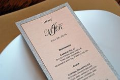 "Silver Glitter Menu, with Full Glitter Backing - can be Gold - Tea Length Flat Wedding Dinner Menu - 4 x 9"""