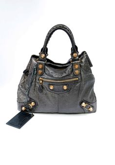 90909d1d5c Gorgeous Balenciaga Brief bag in Anthracite with giant gold hardware  available for sale at PYRAMODE.com!