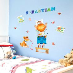 If you want your child to be involved, and for them to have a completely unique room, paint the room a neutral colour, and include neutral furniture and then give them a load of coloured stickers of varying shapes and sizes, and then, simply let them decorate the room.