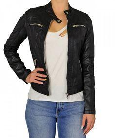 27badeaaf9f Γυναικείο δερματίνη μπουφάν μαύρο με τσέπες D269  #χειμωνιατικαμπουφανγυναικεια #εκπτωσεις #προσφορες Leather Jacket,