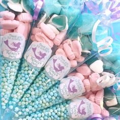 Personalised Mermaid Under the Sea sweet cones. Yummy party favours for enchanting Under the Sea parties! The alternative no fuss party bag Mermaid Birthday Cakes, Mermaid Party Favors, Little Mermaid Birthday, Little Mermaid Parties, Birthday Party Favors, Hen Party Favours, Fete Marie, Birthday Badge, Sweet Cones