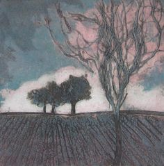Near and Far by Sarah Ross-Thompson. Sarah Ross, Yarn Painting, Collagraph, Sketch Painting, Types Of Art, Abstract Landscape, Printmaking, Paper Art, Original Artwork