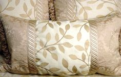 Decorative Throw Pillow Lumbar style 1(one) masterfully designed with Designer Fabrics... Stroheim  Romann, Pollack, with Silk Damask...Neutral tones of ivory, beige  gold, finely detailed with EXQUISITE craftsmanship ELEGANT design by Cabin Cove Creation, $150.00 ....CUSTOM ORDERS WELCOME....If sold please stop by the cabin and check out all my unique designs...and if you like my work just take a minute to say hey!  click here----  http://www.etsy.com/shop/cabincovecreations?ref=si_shop