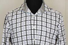 English Laundry Mens Long Sleeve White Plaid Button Front Dress Shirt sz 16.5 #EnglishLaundry