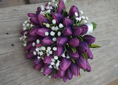 Natural Real Touch Eggplant Purple Tulips And white by DexinFloral