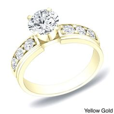 Auriya 14k Gold 1ct TDW Round Diamond Engagement Ring (H-I, SI1-SI2) (Yellow Gold-Size 8.5), Women's