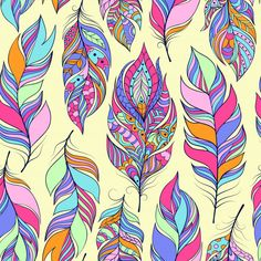 Vector illustration of seamless pattern with colorful abstract feathers Feather Clip Art, Feather Drawing, Free Vector Clipart, Vector Freepik, Doodle Art Designs, Illustrations, Images, Photos, Pictures