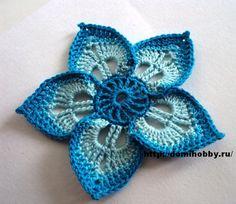 crochelinhasagulhas: Flor de crochê VII