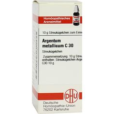 ARGENTUM METALLICUM C 30 Globuli:   Packungsinhalt: 10 g Globuli PZN: 04204461 Hersteller: DHU-Arzneimittel GmbH & Co. KG Preis: 5,19 EUR…