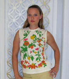 Vintage 1960s Mod Flower Power Print Ladies Sleeveless by linbot1. $24.00 USD, via Etsy.