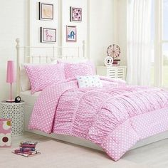 Teen Girls 4 Piece Pink White Dot Ruched Polyester Queen Bedding Comforter Set #Doesnotapply #Modern