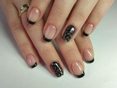 черный френч, nail art, nail design дизайн ногтей, нейл арт,